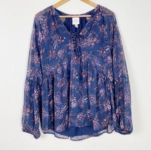 KNOX ROSE Dark Blue Long Sleeve Floral Top Boho
